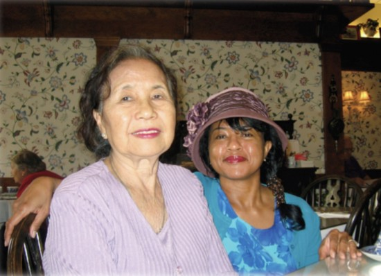 Playwright Velina Hasu Houston with her mother, Setsuko Perry.