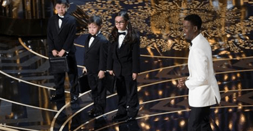 Oscars host Chris Rock introduced three Asian kids  as the accountants who tabulated the results.