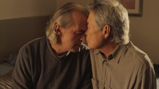"""The marriage of Bud (Steve Alden Nelson) and Hiro (Sab Shimono) is explored in David Au's comedic short """"Family Gathering."""""""