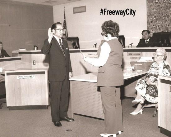 "Paul Bannai is sworn in as a Gardena city councilman in 1972. At right is Mayor Ken Nakaoka. (From ""Freeway City"")"