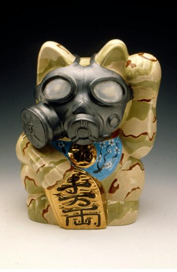 "Keiko Fukazawa, ""Manikineko – GM""; porcelain, glaze, china, paint, decal; 12"" x 9.5"" x 8"""