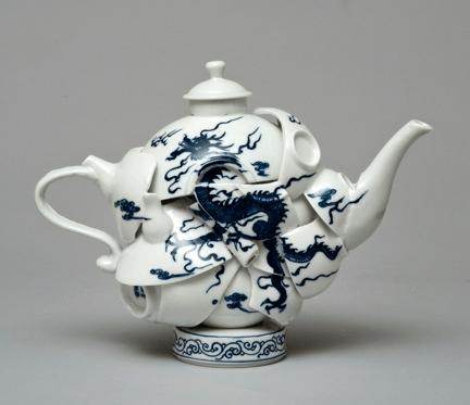 """Keiko Fukazawa, """"Take and Don't Regret It""""; ceramics, paint; 25"""" x 25"""" x 3"""""""