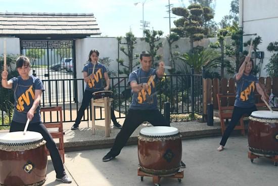 San Fernando Valley Taiko performs.