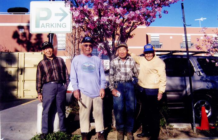 2003年に植えて大きくなった桜の木の前で。2008年5月11日撮影(写真=南加庭園業連盟提供)