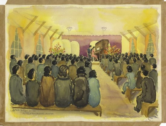 Several paintings by Estelle Ishigo depicting life in the Heart Mountain, Wyo. camp are part of the Eaton Collection. This one depicts a piano recital in March 1944.