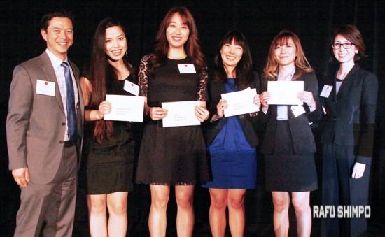 From left: Jeff Maloney, Scholarship Committee co-chair; scholarship recipients Alexandra Johnson, Bora Lee, Alyssa Fujii and Mai Suzuki; Scholarship Committee Co-chair Allyson Sakai.