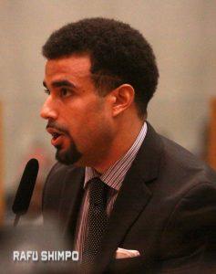 Sean Fleming Jr. spoke on behalf of Rep. Maxine Waters.