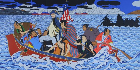 """""""Shimomura Crossing the Delaware"""" by Roger Shimomura, one of the featured artists."""