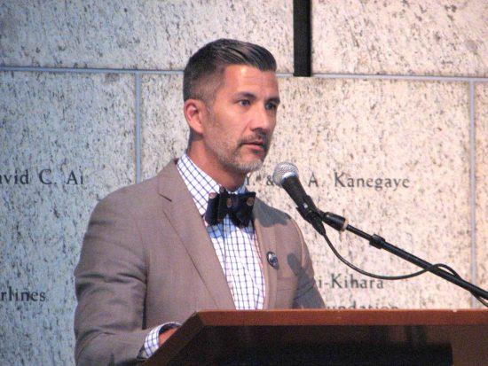 JANM President and CEO Greg Kimura speaks at the Minoru Yasui centennial celebration on April 30. (J.K. YAMAMOTO/Rafu Shimpo)