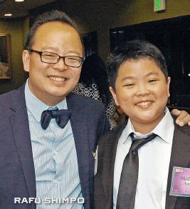 Jeff and Hudson Yang at the East West Players Visionary Awards gala last month. (MIKEY HIRANO CULROSS/Rafu Shimpo(