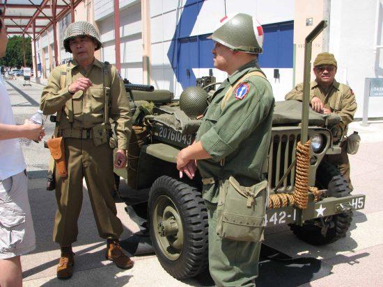 Some participants wore World War II-era uniforms.