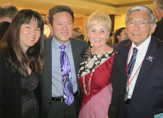 National JACL President Gary Mayeda and his wife, Chris Vuu Mayeda, with former Secretary of Transportation Norman Mineta and his wife, Deni.
