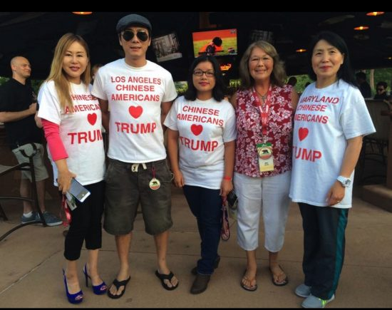 Miki Booth (second from right) with members of Chinese Americans for Trump.