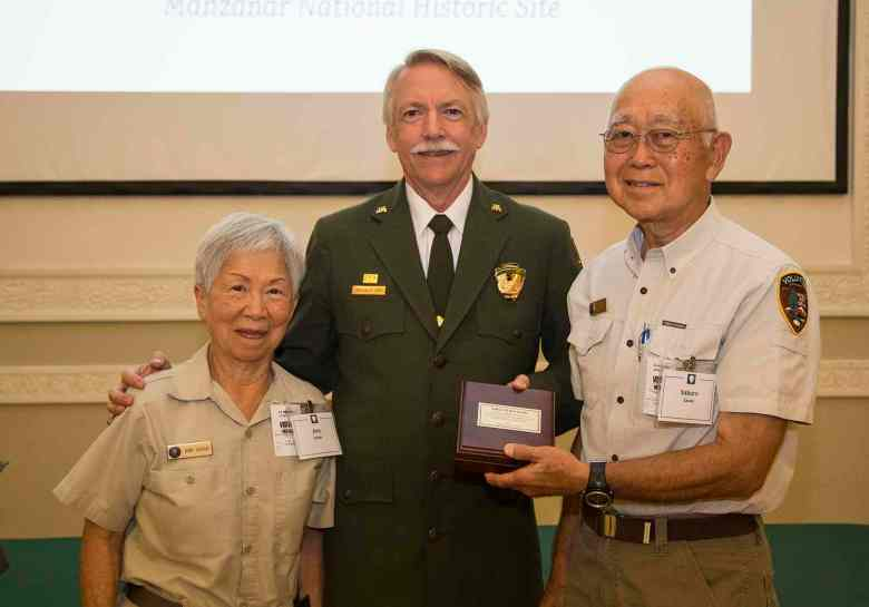 Volunteers Ann and Saburo Sasaki with National Park Service Director Jon Jarvis on Aug. 9 in Washington, D.C. (NPS Photo)