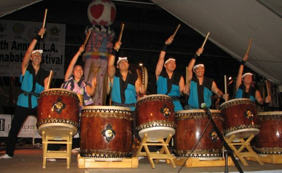 Yoki Daiko, pictured at last year's Tanabata Festival, will return this year. The group is based at the Tenrikyo Mission Headquarters of North America in Los Angeles. (J.K. YAMAMOTO/Rafu Shimpo)