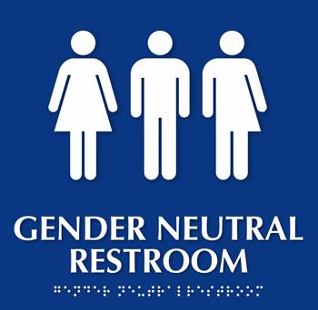 すべての性的アイデンティティーの人が利用できる「ジェンダー・ニュートラル」のトイレ標識