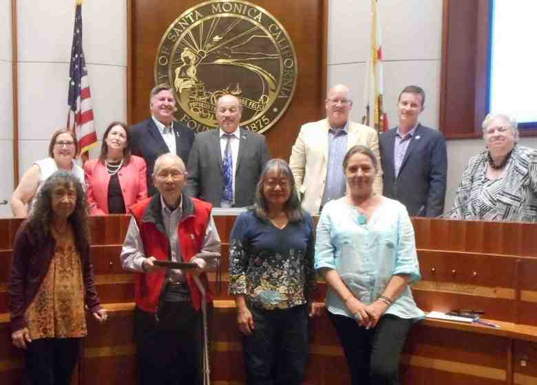 Back row, from left: Santa Monica City Council members Gleam Davis, Sue Himmelrich, Kevin McKeown, Mayor Tony Vazquez, Mayor Pro Tem Ted Winterer, Councilmembers Terry O'Day and Pam O'Connor. Front row, from left: Speakers Dolores Sloan, Arnold Maeda, Phyllis Hayashibara and Suzanne Thompson.