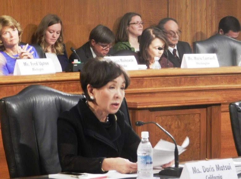 Rep. Doris Matsui on Sept. 8, working with House and Senate conferees on the Energy Policy Modernization Act of 2016.