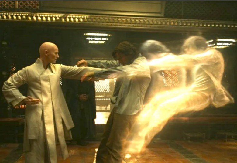 """The Ancient One (Tilda Swinton) teaches sorcery to Dr. Strange (Benedict Cumberbatch) in a scene from Marvel's """"Dr. Strange."""""""