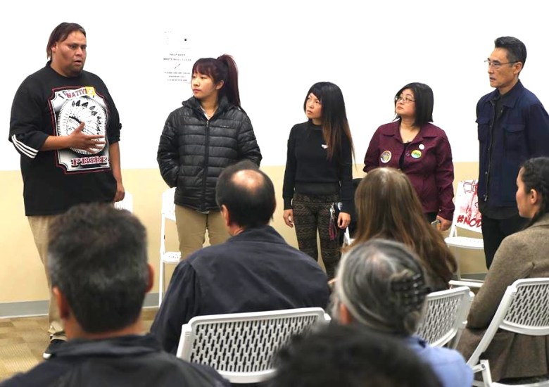 Four recently returned water protectors describe their NoDAPL experiences at Standing Rock: (from left) Mata Means (Jaguar Redfeather is his other name), Nancy Kim, Hsingii Bird and R.D. Wong. David Monkawa (far right) of Progressive Asian Network for Action helped organize the event.