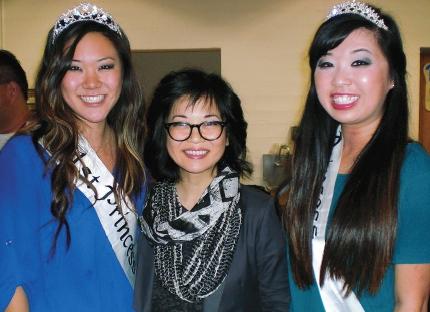 Keiko Agena with Nisei Week First Princess Megan Ono and Princess Shannon Tsumaki.