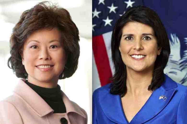 Former Secretary of Labor Elaine Chao and South Carolina Gov. Nikki Haley