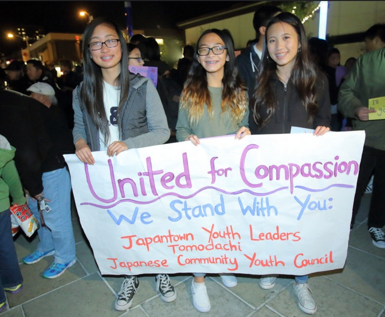 Japanese American youth groups were represented at the rally.