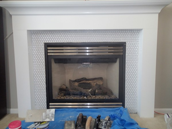 Fireplace Mantel Makeover Installing Penny Tile Rag And