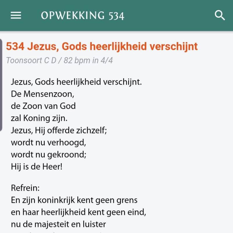 Voorbeeld van het lied opwekking 534 Jezus, Gods heerlijkheid verschijnt uit de Opwekkingsliederen App