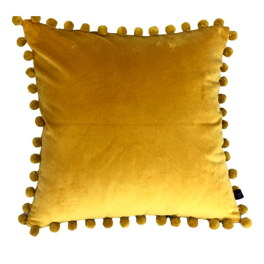 arabella mustard velvet pompom cushion