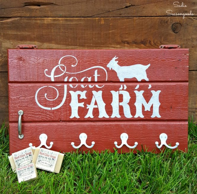 Stenciled Farm Sign on a Barn Style Salvaged Cabinet Door which is a feature from Waste Not Wednesday-53 by Sadie Season Goods www.raggedy-bits.com