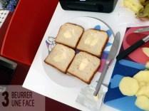 Beurrer une face des pains
