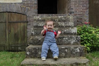 Sur l'escalier du four à pain