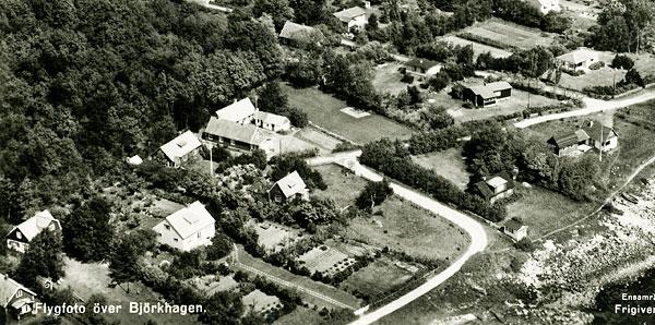 Björkhagen, Strandridarevägen - del av flygfoto från 1959