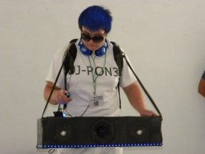 A cosplayer dressed as DJ PON-3 at BroNY Con.