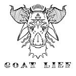 "A detailed drawing of a goat's head with the words, ""Gota Lief"" written beneath it."