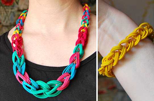 rubber band chain diy tutorial