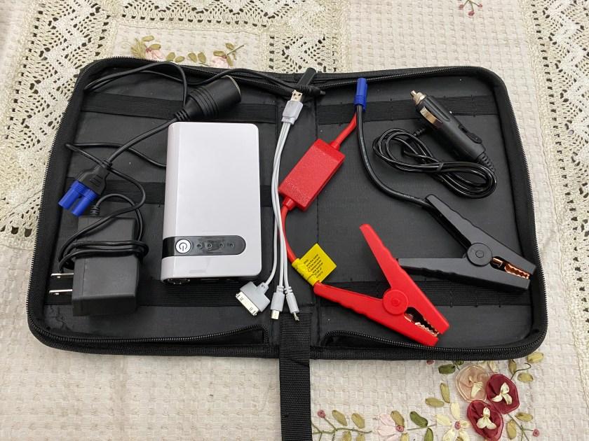 set jump starter power untuk kereta lengkap dengan kabel, bateri dan alat caj bateri telefon