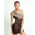 Black Dress with Leopard Print