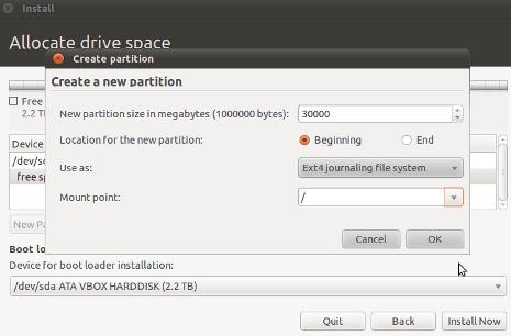 Cara Install Ubuntu 10.10 - Membuat Partisi sda1 root