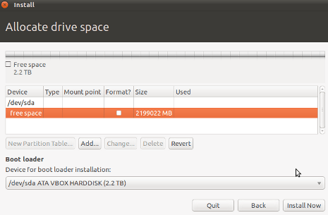 Cara Install Ubuntu 10.10 - Memilih Drive Kosong