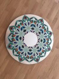 Weissgold Spiegel mit Mandala Ornament