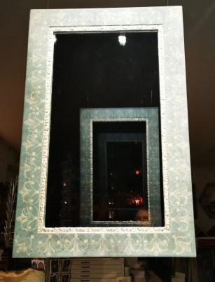 Renaissance Spiegel weissblattvergoldet mit Radierornament