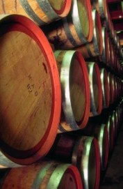 Image of Jacob's Creek oak barrels in maturation storage. 300 dpi CMYK