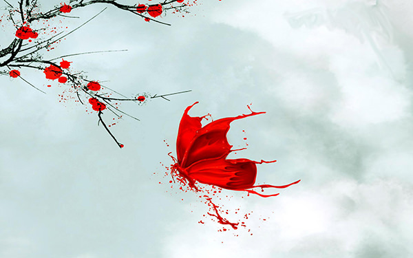 Red-Butterfly-Abstract-Art-Wallpaper