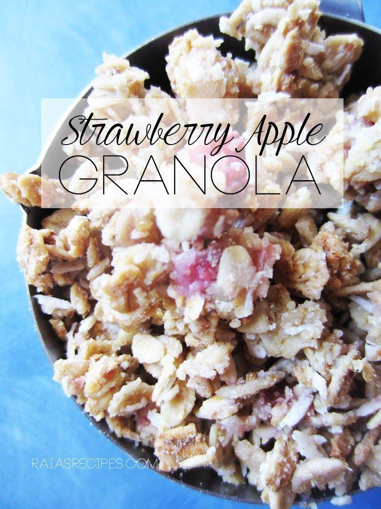 Strawberry Apple Granola | gluten-free, egg-free,  dairy-free, refined sugar-free | RaiasRecipes.com