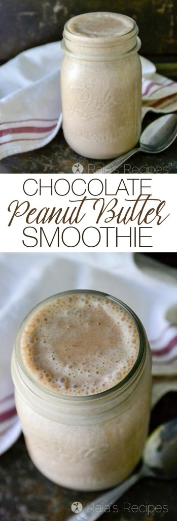 This easy Chocolate Peanut Butter Smoothie is sure to quickly become a favorite in your kitchen, just like it is in mine... | Raiarecipes.com