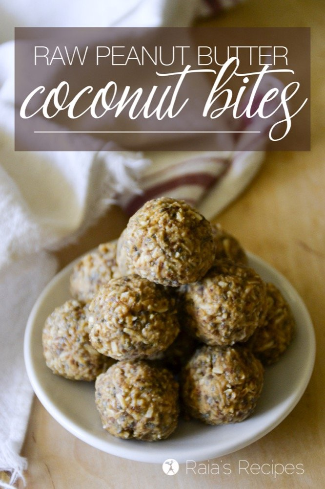 Free of grain, dairy, and refined sugar, these little Raw Peanut Butter Coconut Bites are an easy and nutritious snack! | RaiasRecipes.com