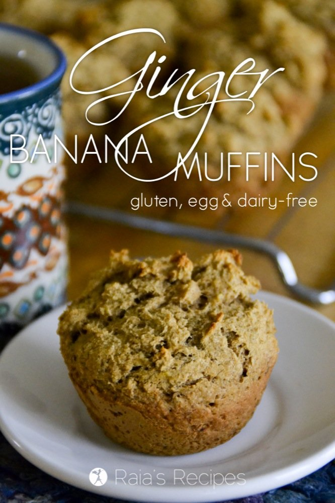Gluten-free, egg-free, dairy-free, and refined sugar-free Ginger Banana Muffins from RaiasRecipes.com