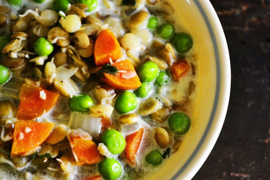 Quick & Easy Veggie Lentil Soup   gluten-free, grain-free, egg-free, sugar-free, with dairy-free option   RaiasRecipes.com